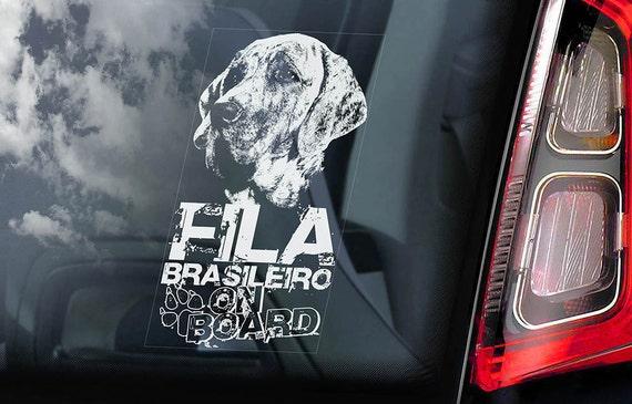Fila Brasileiro on Board - Car Window Sticker - Brazilian Mastiff Dog Sign Gift Decal - V01