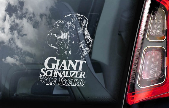 Giant Schnauzer on Board - Car Window Sticker - Russian Bear Dog Sign Munich Decal -V03