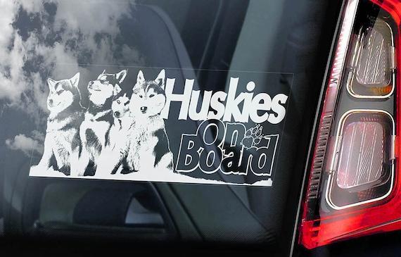 Huskies on Board - Car Window Sticker - Huskie Siberian Husky Sled Dog Sign Decal -V02