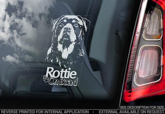 Rottweiler - Car Window Sticker - Rottie on Board Beware of the Dog Sign Bumper Decal - V09