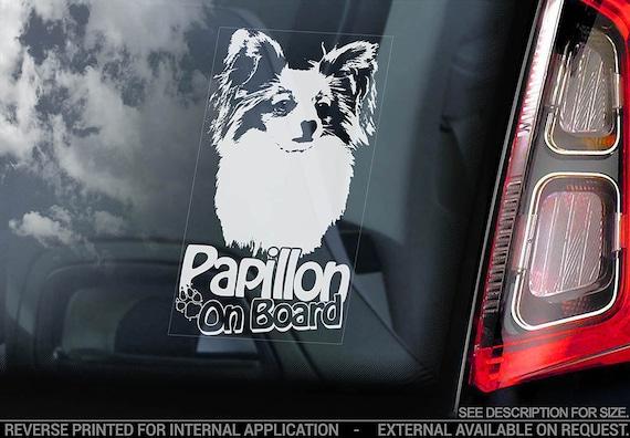 Papillon on Board - Car Window Sticker - Phalène Continental Toy Spaniel Dog Sign Decal - V02