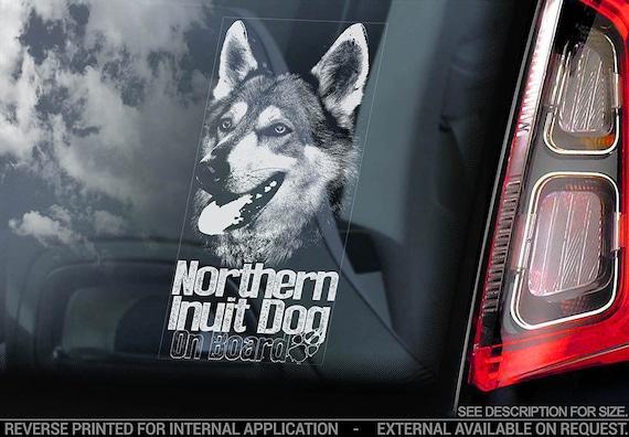 Northern Inuit Dog on Board - Car Window Sticker - Sign Decal - V02