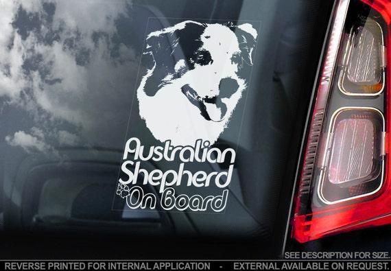 Australian Shepherd on Board - Car Window Sticker - Aussie Dog Sign Decal  Gift - V02