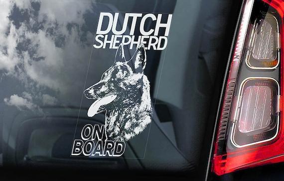 Dutch Shepherd on Board - Car Window Sticker - Hollandse Herder Dog Sign Gift Decal - V01