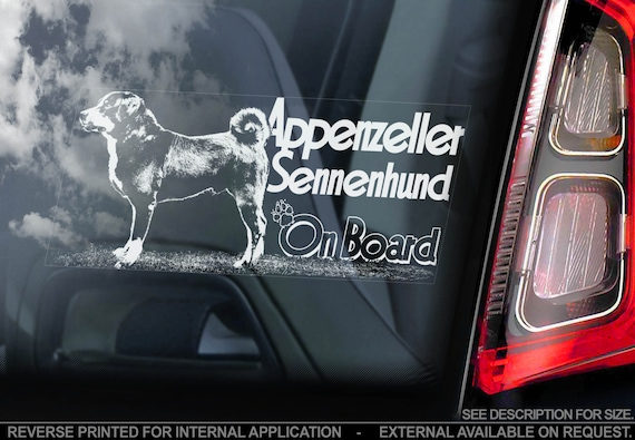 Appenzeller Sennenhund on Board - Car Window Sticker - Cattle Mountain Dog Sign Decal Gift - V01