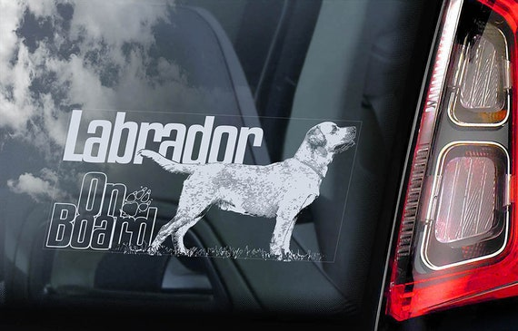 Labrador on Board - Car Window Sticker - Retriever Golden Dog Sign Lab Decal - V12
