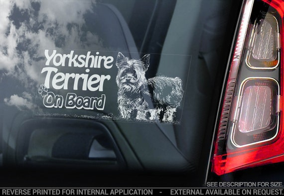 Yorkshire Terrier on Board - Car Window Sticker - Yorkie Bumper Sign Cute Gift Decal - V04