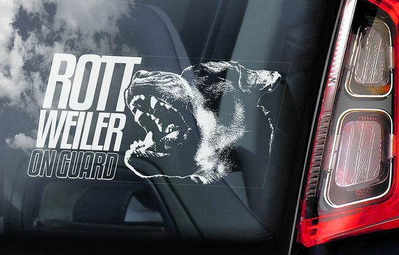 Rottweiler on Guard - Car Window Sticker - Rottie Beware of the Dog Gift Sign Decal - V02
