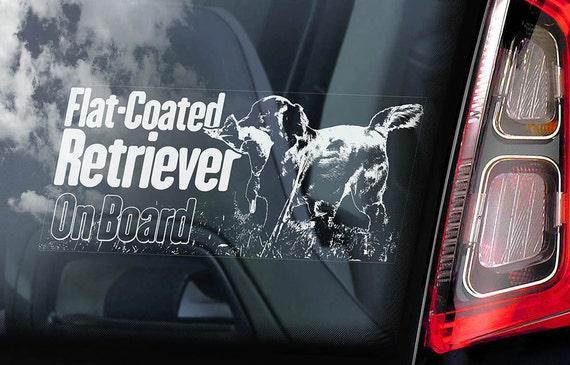 Flat-Coated Retriever on Board - Car Window Sticker - Hunting Dog Sign Gift Decal - V02