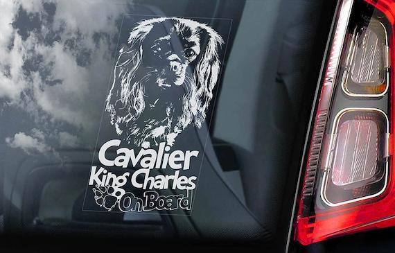 Cavalier King Charles Spaniel Car Window Sticker Dog on Board Sign Decal V02