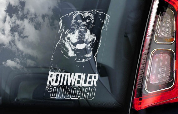 Rottweiler on Board - Car Window Sticker - Rottie Beware of the Dog Sign Decal -V04