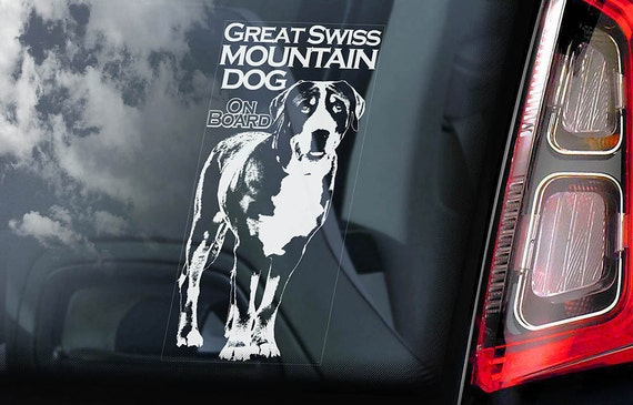 Great Swiss Mountain Dog on Board - Car Window Sticker - Grosser Schweizer Sennenhund Dog Sign Decal - V01