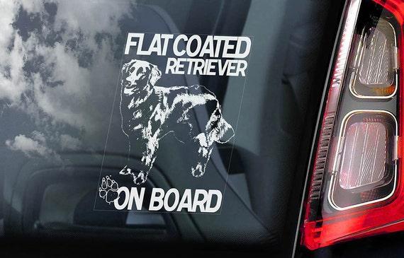 Flat-Coated Retriever on Board - Car Window Sticker - Dog Sign Gift Decal - V01