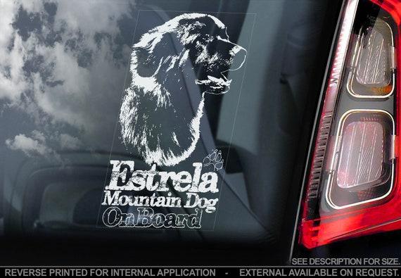 Estrela Mountain Dog - Car Window Sticker - Cão Portuguese Shepherd on Board Sign Decal - V01