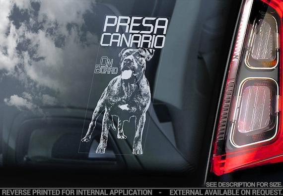 Presa Canario on Board - Car Window Sticker - Dogo Canary Mastiff Dog Sign Decal - V03