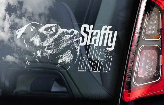 Staffordshire Bull Terrier - Car Window Sticker - Dog on Board Sign Decal Staffie Staffy -V05
