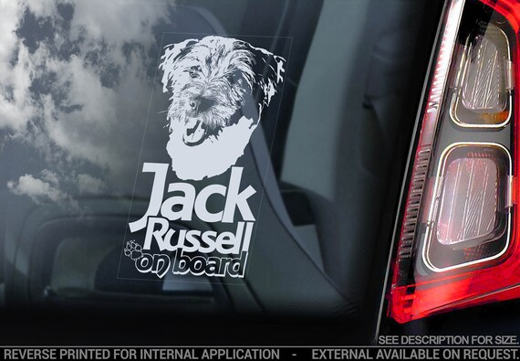 Jack Russell on Board  - Car Window Sticker - Russel Terrier JRT Dog Sign Decal - V08