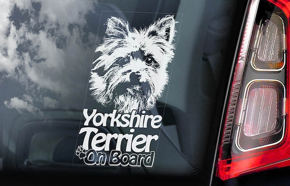 Yorkshire Terrier on Board - Car Window Sticker - Yorkie Sign Decal -V03
