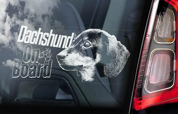 Dachshund on Board - Car Window Sticker - Teckel Dackel Dog Sign Decal - V02