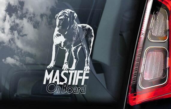 Mastiff on Board - Car Window Sticker - English Molosser Dog Sign Decal - V02
