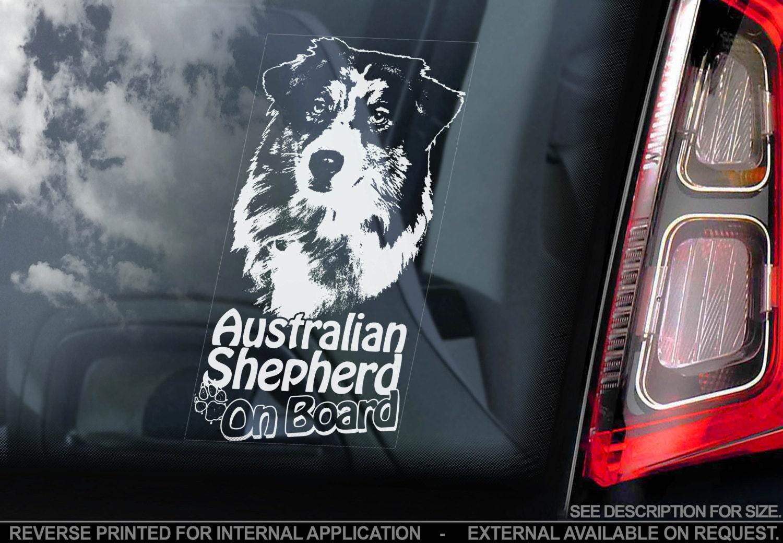 Car Window Sticker Australian Shepherd on Board Aussie Dog Sign Decal V03