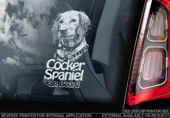 Cocker Spaniel on Board - Car Window Sticker -  English Dog Sign Decal - V04