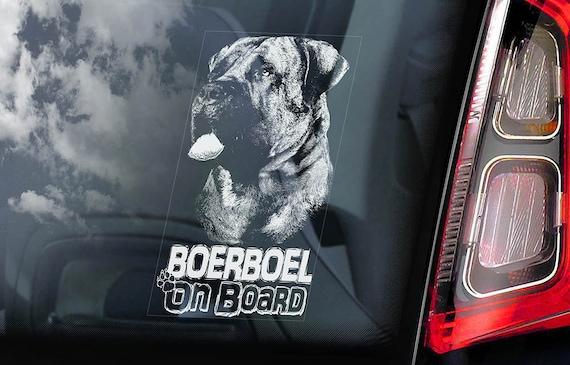 Boerboel on Board - Car Window Sticker - South African Mastiff Dog Sign Decal Art Gift - V02