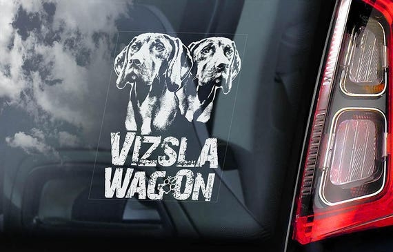 Vizsla WagOn! - Car Window Sticker - Vizslas on Board Magyar Hungarian Pointer Dog Sign Decal - V03