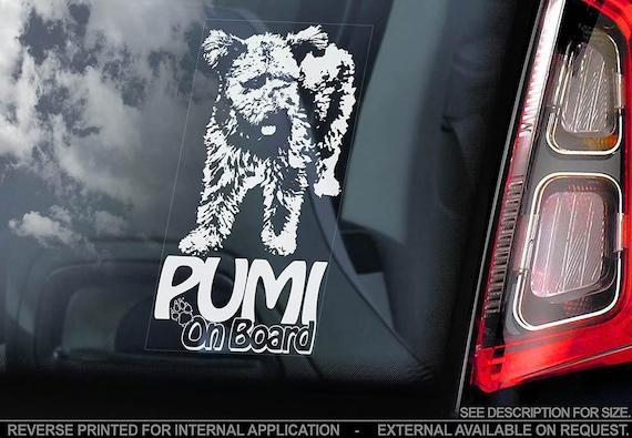 Pumi on Board - Car Window Sticker - Hungarian Herding Terrier Dog Sign Decal - V01