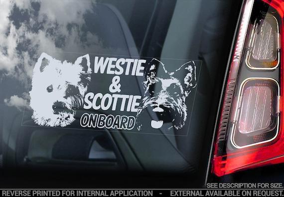 Westie & Scottie on Board - Car Window Sticker - Scotty Sign West Highland White Terrier Decal - V02
