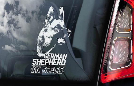 German Shepherd on Board - Car Window Sticker - Alsatian Dog GSD Sign - Decal -V01