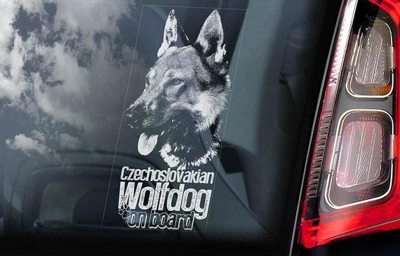 Czechoslovakian Wolfdog on Board - Car Window Sticker - Vlcak Cane Lupo Cecoslovacco Sign Decal - V06