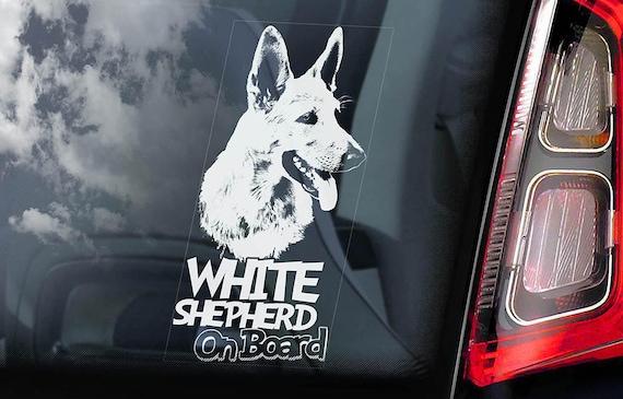 White Shepherd on Board - Car Window Sticker - American Canadian Dog Sign Decal - V01