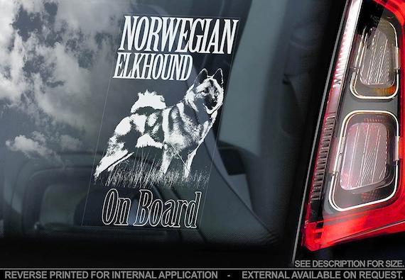 Norwegian Elkhound on Board - Car Window Sticker - Norsk Elghund Dog Sign Decal - V01