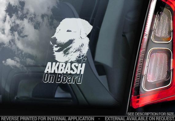 Akbash on Board - Car Window Sticker - Anatolian Kangal Dog Sign Decal Gift - V01