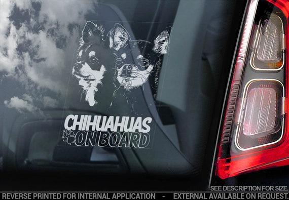 Chihuahuas on board - Car Window Sticker - Dog Sign Cute Gift Idea Bumper Decal - V14