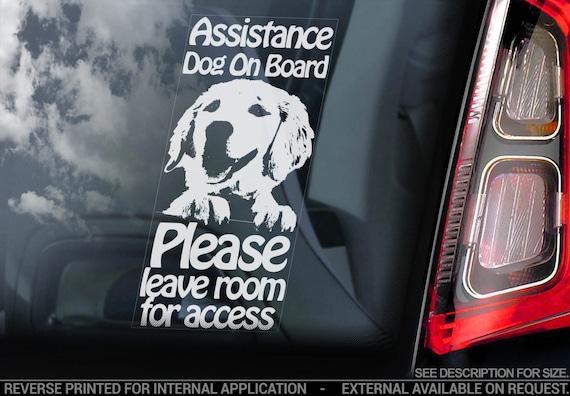 Assistance Dog on Board - Car Window Sticker - Golden Retriever Dog Sign Decal Gift - V02