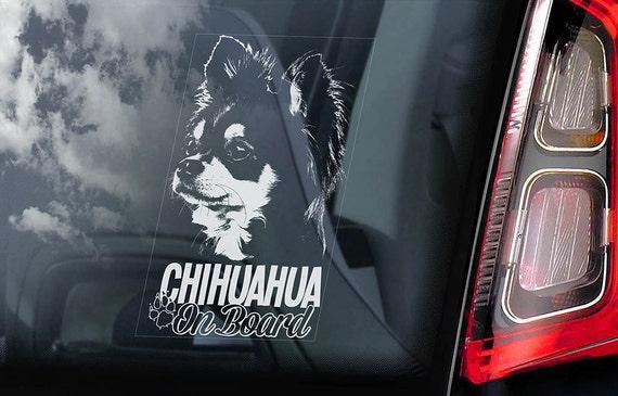 Chihuahua on Board - Car Window Sticker - Dog Sign Cute Gift Idea Art Decal - V04