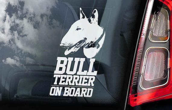 Bull Terrier on Board - Car Window Sticker -  English Bully Dog Sign Decal -V01