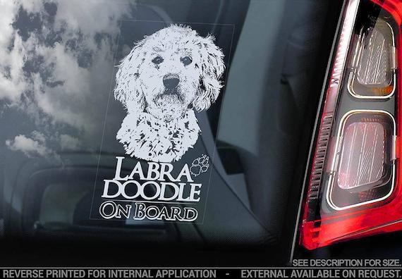 Labradoodle on Board - Car Window Sticker - Retriever Gun Hybrid Dog Sign Decal - V01