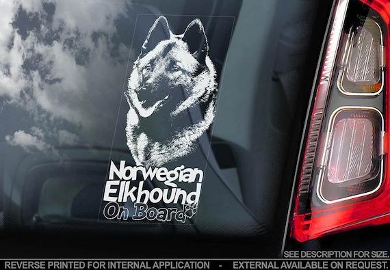 Norwegian Elkhound on Board - Car Window Sticker - Norsk Elghund Dog Sign Decal - V02