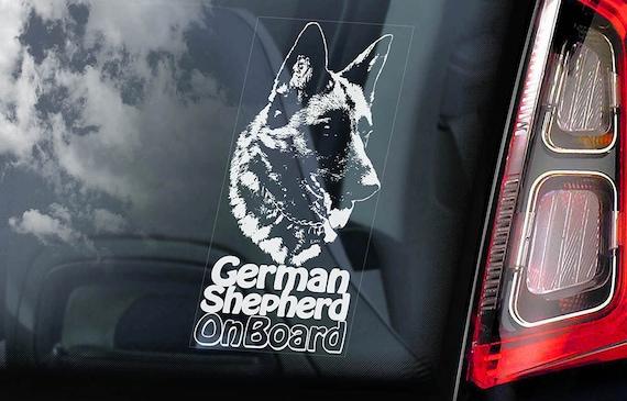 German Shepherd on Board - Car Window Sticker - Security Alsatian K9 Dog Sign Decal -V06