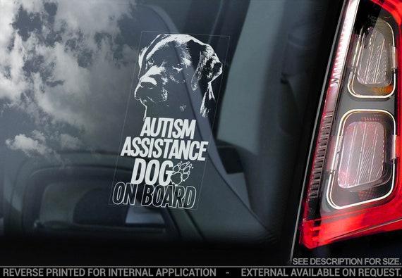 Autism Assistance Dog on Board - Car Window Sticker - Labrador Dog Sign Decal - V01