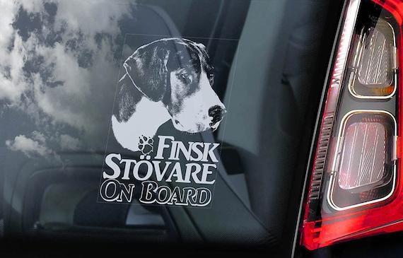 Finsk Stovare on Board - Car Window Sticker - Finnish Hound Dog Sign Gift Decal - V01