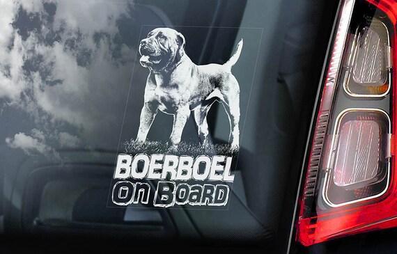 Boerboel on Board - Car Window Sticker - South African Mastiff Dog Sign Decal Art Gift - V01
