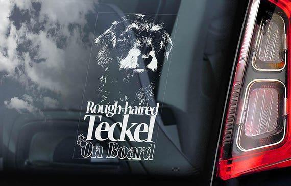 Rough-Haired Teckel on Board - Car Window Sticker - Dachshund Dackel Dog Sign Decal - V01