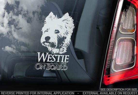 Westie - Car Window Sticker - Dog on Board Sign - West Highland White Terrier Bumper Decal - V04