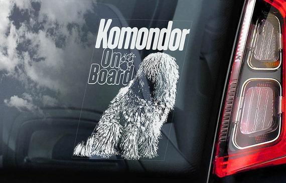 Komondor on Board - Car Window Sticker - Hungarian Sheepdog Dog Sign Decal - V01