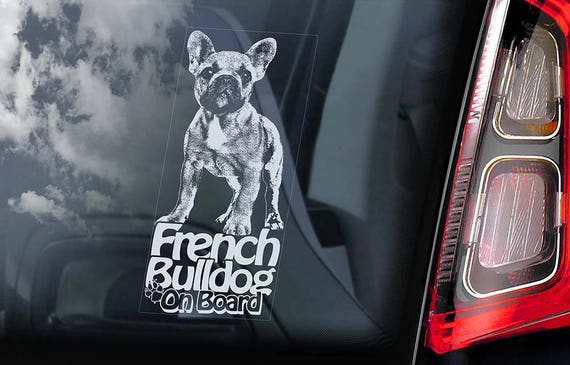 French Bulldog on Board - Car Window Sticker - Bouledogue Français Dog Sign Decal Uncropped -V03