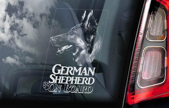 German Shepherd on Board - Car Window Sticker - Security Alsatian K9 Dog Sign Decal -V10